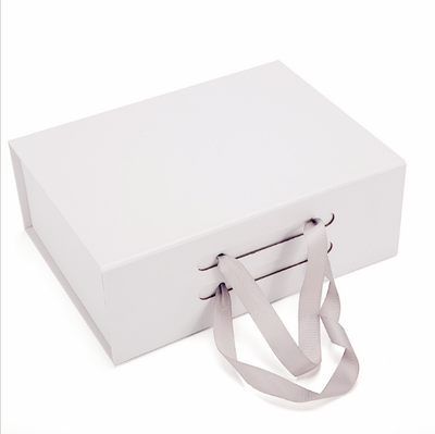 Wholesale Stock Packaging Foldable Paper Gift Box with Ribbon Handle