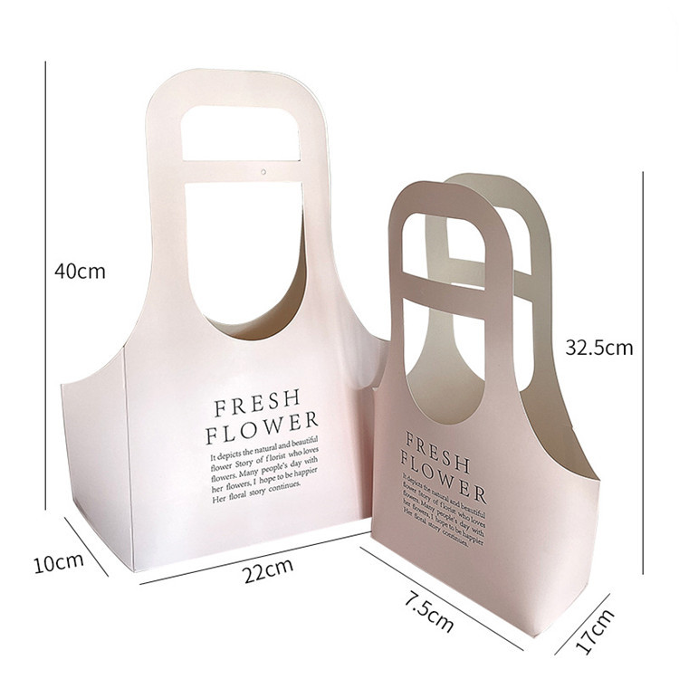 Custom Logo Luxury Portable Kraft Paper Creative Flower Box With Handle