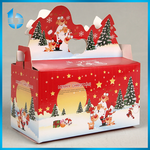 OEM Printed Christmas Apple Fruit Packaging Box Apple Packaging Fold Bag Christmas Eve Gift Paper Box With Handle