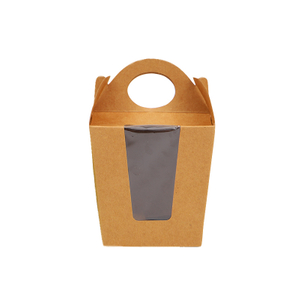 Kraft paper with open window portable honey dry fruit shopping gift packing paper box large and small customization