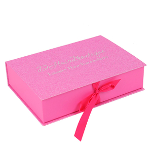 Customized Gift packaging Foldable magnetic gift box with ribbon closure