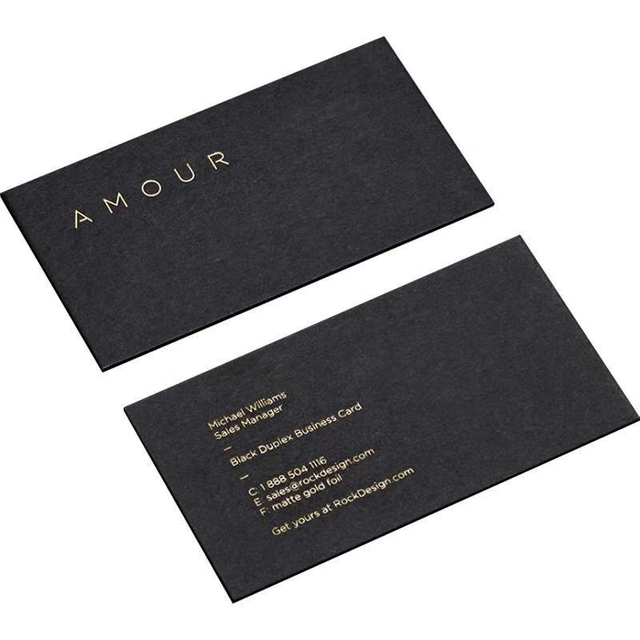Hot-sale 2021 Custom Gold Stamping greeting card Full Color printing Black paper business cards