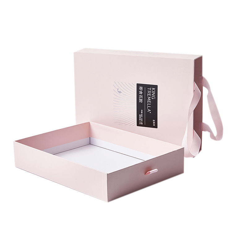 Customized logo gift paper drawer ribbon pull out box pink ,bag box paper with handle