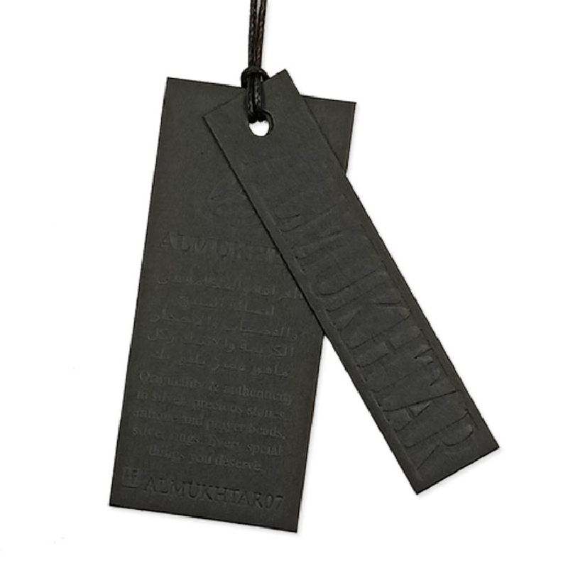 Fashion Free Sample New Design Recycled Label Custom Clothing EmbossingTagger Hangtags Paper