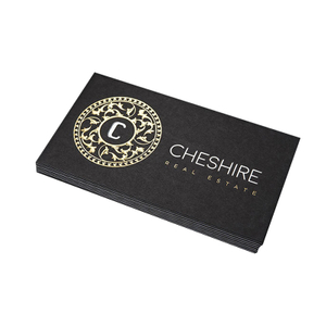 2021 Custom Grey Black paper Gold Foil Stamping business cards Printing