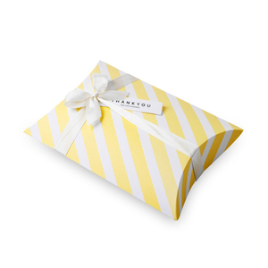 Spot boutique white cardboard striped pillow shape gift box custom color pillow box gift box