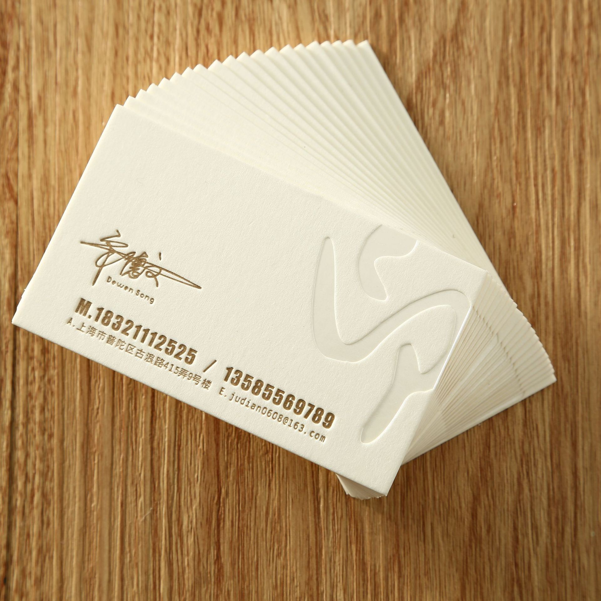 Hot-sale 2021 Custom blind Deboss greeting card screen printing Cotton paper business cards
