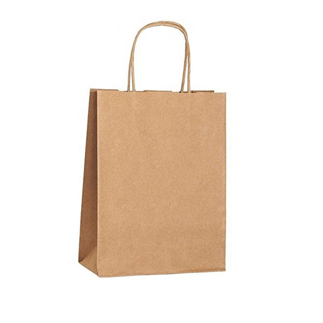 Wholesale Reusable Custom Logo Shopping Clothing Bag Food Coffee Paper Bag With Handle Brown Kraft Paper Packaging Gift Bag