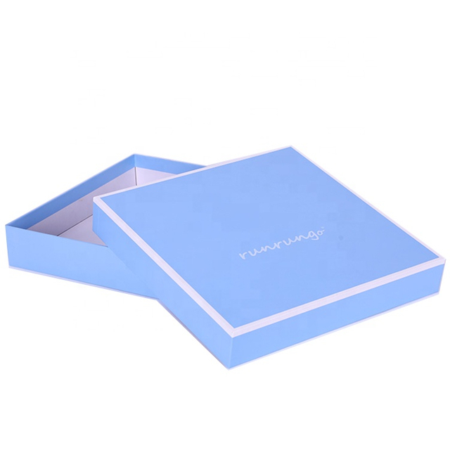 Full Color Logo Printed Lid And Base Flat Garment Apparel Cardboard Paper Box, Packaging Boxes For Clothes